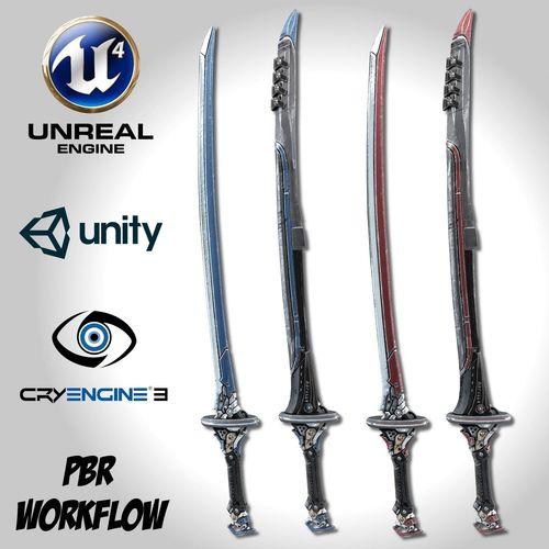 two colors epee - remake 3d model fbx unitypackage prefab uasset 1
