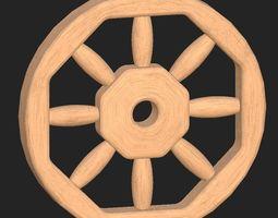 game-ready 3d model cartoon wooden wheel