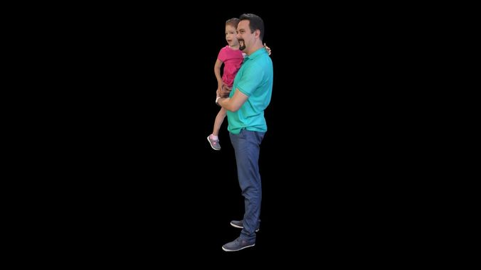 person 10 - dad and daughter 3d model obj mtl 1