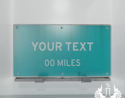 Game-ready Highway Sign Pack With Sign Template 3D model