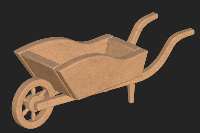 cartoon wooden cart 3d model obj mtl fbx 1