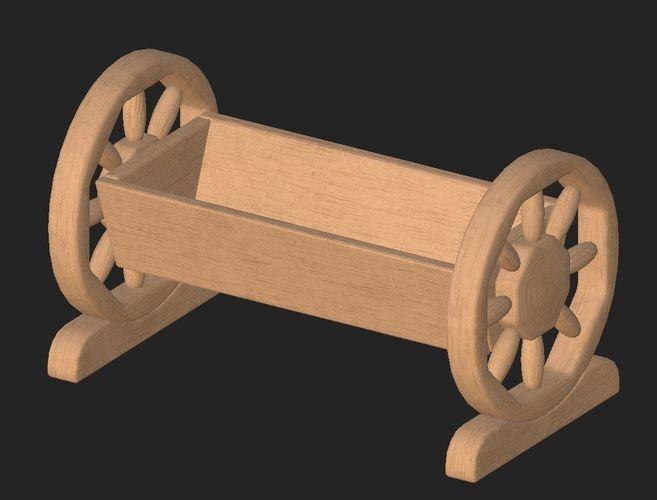 cartoon wooden flowerpot 3d model obj mtl fbx 1
