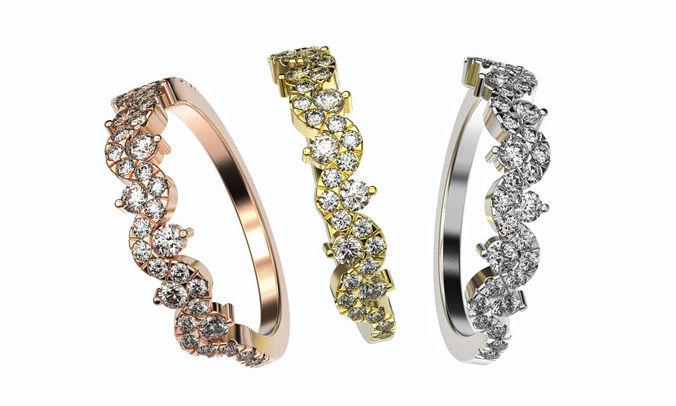 gold diamond band 3d printable model silver wedding ring 3dm stl 3d model obj mtl fbx stl 3dm 1