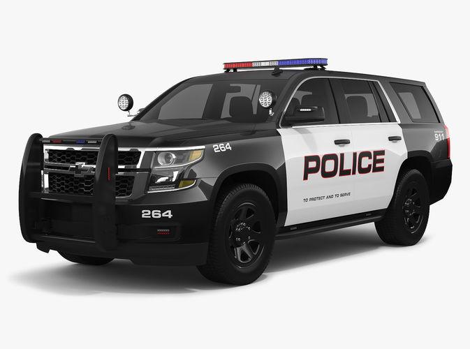 Chevrolet Tahoe 2018 Police 3D model MAX OBJ MTL FBX TGA