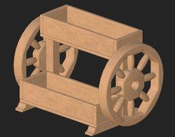 Cartoon wooden flowerpot 1 3D model