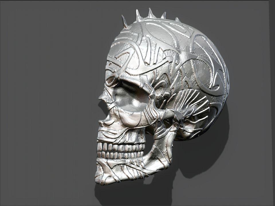 Punk Skull Wall Decor Model Stl 2