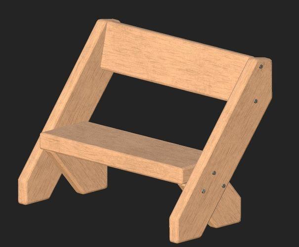 cartoon wooden bench 4 3d model obj mtl fbx 1