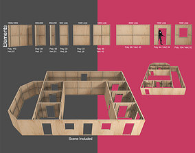 Modular Construction site partition walls for 3D model 1