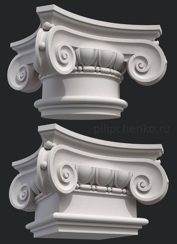 ionic column capital 3d print model 3d model obj mtl dxf stl ply 1