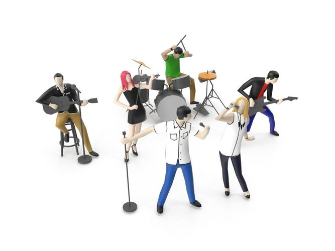 low poly people playing music instrument 3d model max obj mtl 3ds fbx 1
