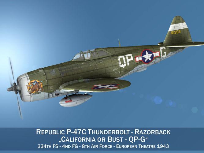 Republic P-47C Thunderbolt - California or Bust - QP-G