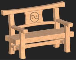 3D model Cartoon wooden bench 10