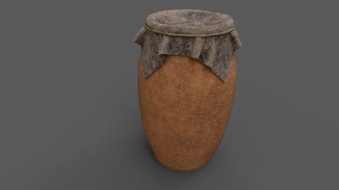 big pot closed with cloth 3d model fbx 1