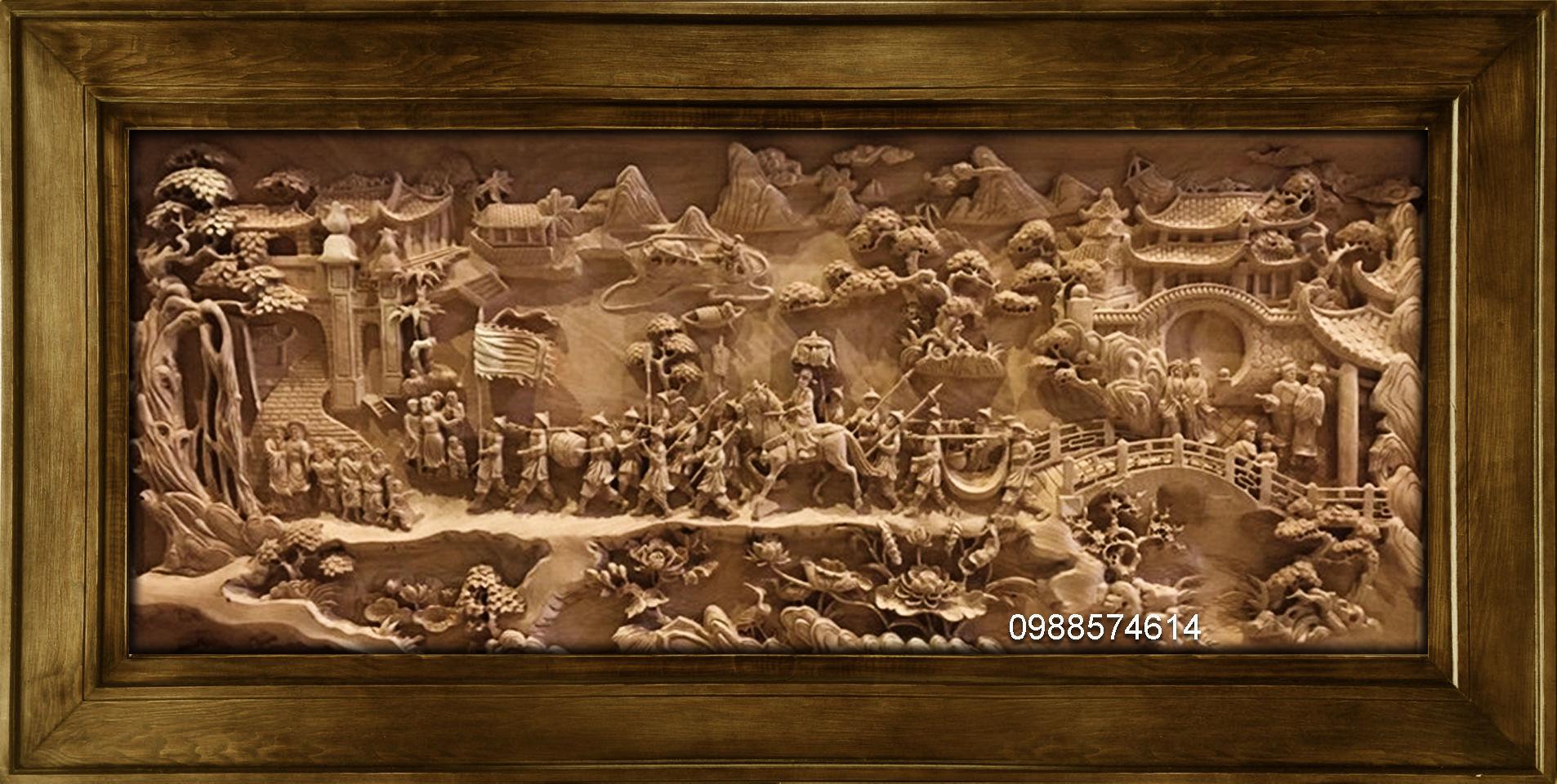 Mural landscape wood carving file stl OBJ and ZTL for CNC