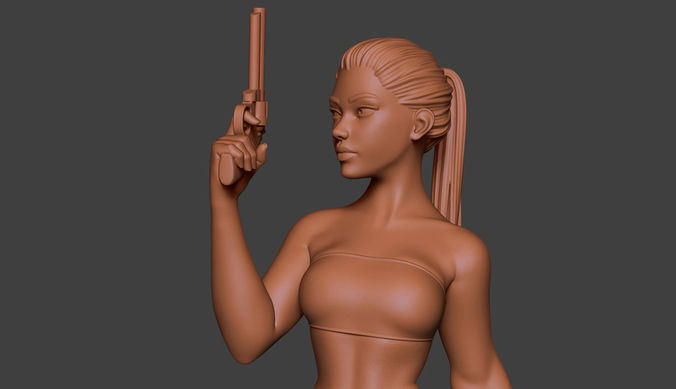 woman gun 2 3d model obj mtl stl ztl 1