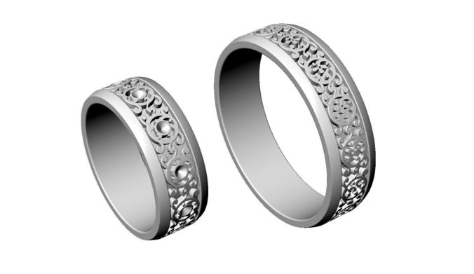 3d print model knot wedding rings with diamond cgtrader