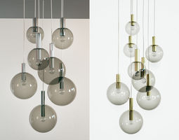 3d model brass and smoked glass ceiling lights