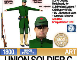 Civil War Union Soldier C Infantry Sharpshooter 3D Model