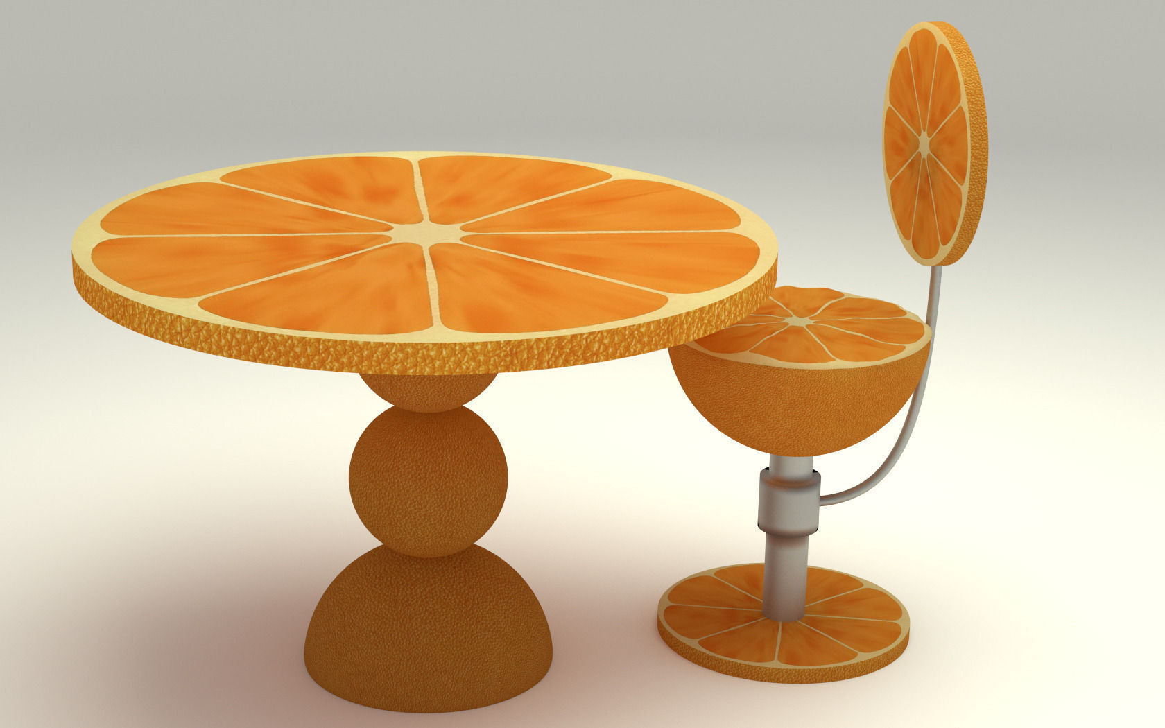 Orange kitchen table 3d model max obj fbx c4d ma mb for Kitchen set orange