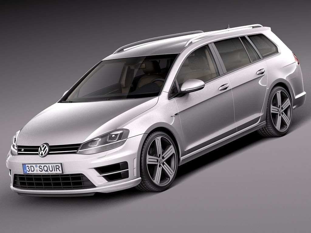 volkswagen golf vii r variant 2015 3d model max obj 3ds fbx c4d lwo lw lws. Black Bedroom Furniture Sets. Home Design Ideas