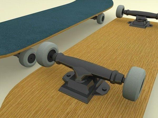 3d model skateboard vr ar low poly max obj 3ds fbx ma mb - Skateboard mobel ...
