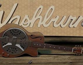 3D Washburn R15RCE Resonator Guitar