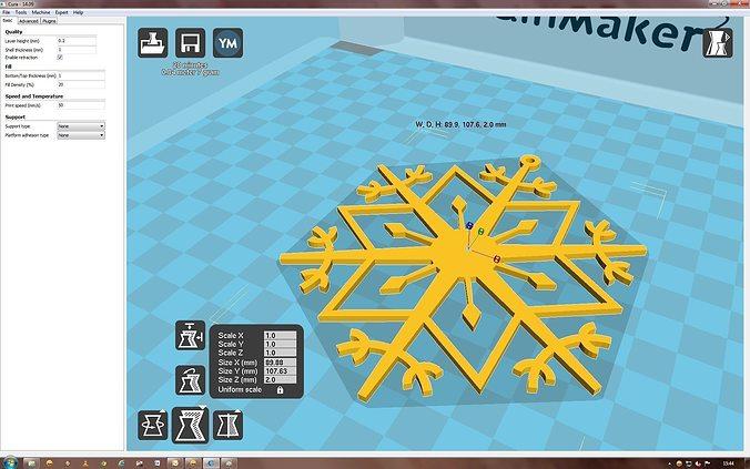snowflake 3d model stl 1