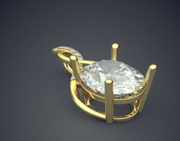 3d print model brooch with enormous diamond cad 5140