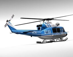 police bell 412 helicopter 3d model max obj 3ds fbx c4d lwo lw lws