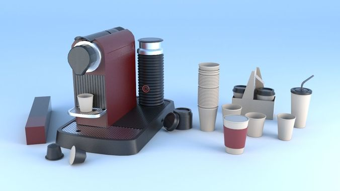 espresso machine coffee capsule caps 3d model max obj mtl fbx 1