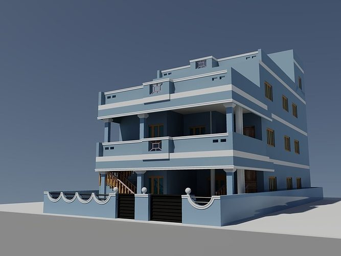 Sketchup Front Elevation : D duplex house autocad cgtrader
