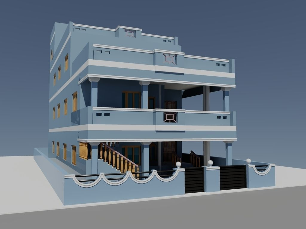 Duplex house free 3d model dwg for Duplex house models inside