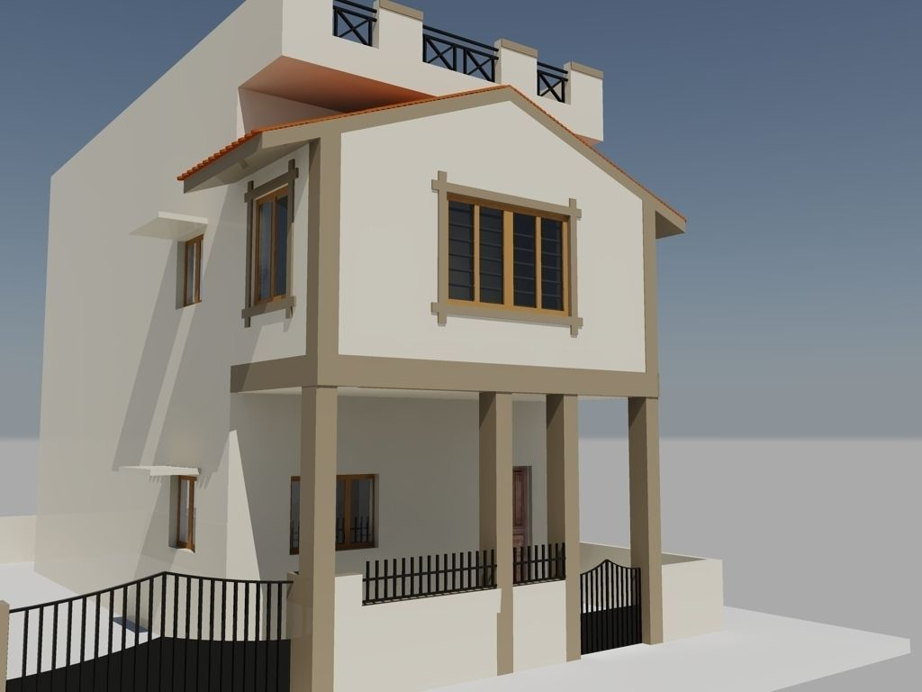 Duplex mansion free 3d model dwg for Duplex house models