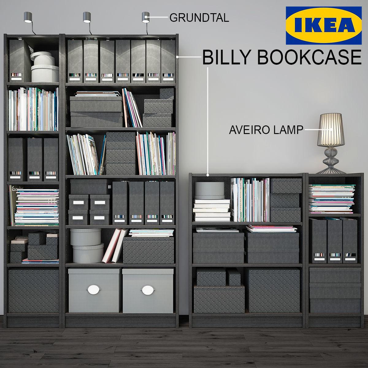 Billy Bookcase Black Ikea 3d Model