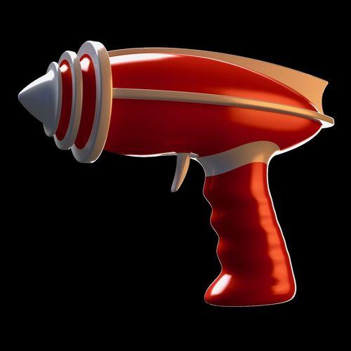 retro-futuristic sci-fi space ray gun - raygun - toy gun 3d model obj mtl 3ds fbx blend dae 3dm 1
