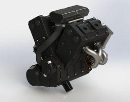 Engine V4 Biturbo 3D rigged