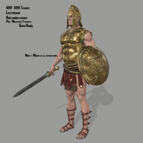 gladiator armor 3d model low-poly obj mtl fbx blend 1