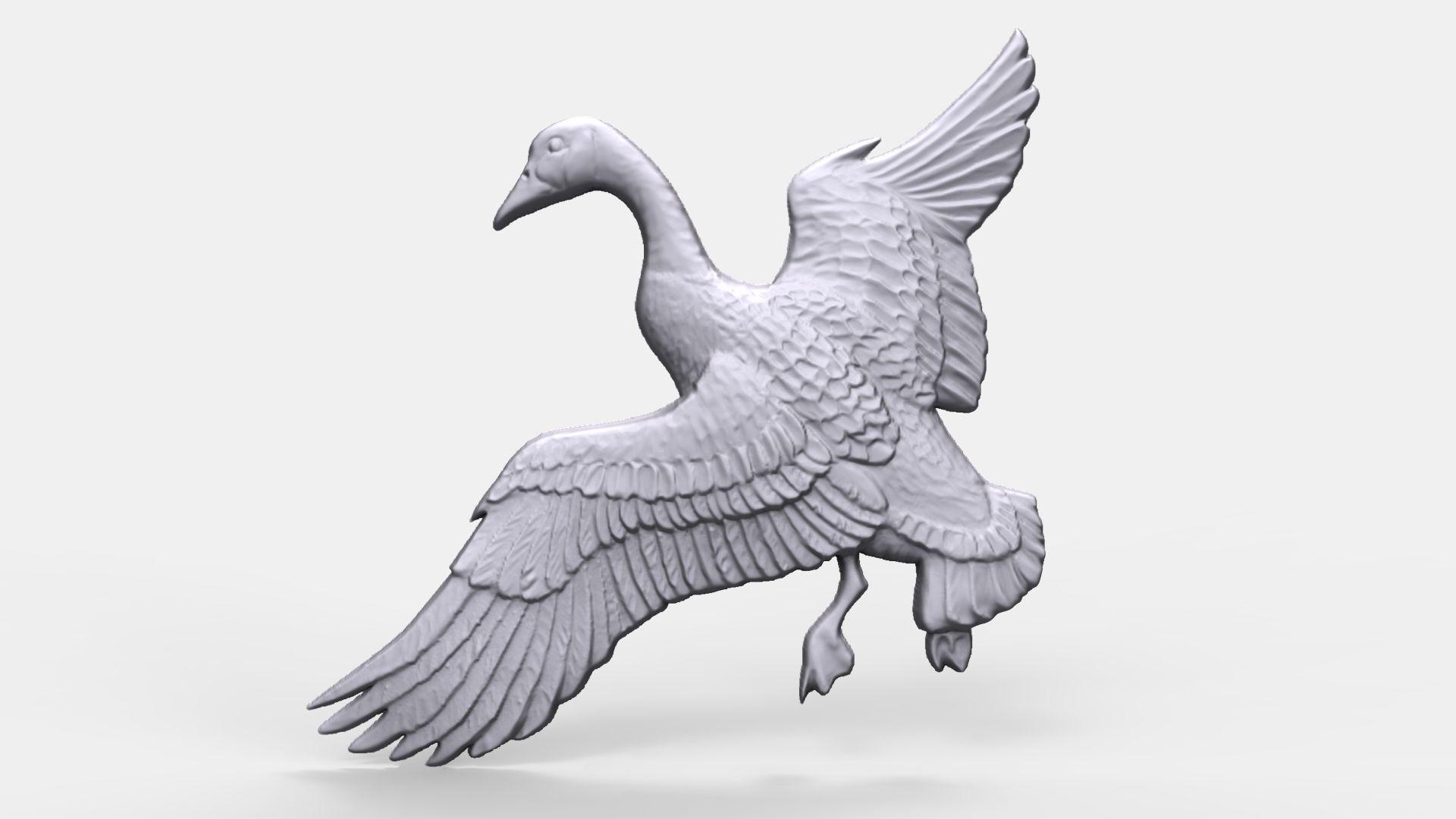Canadian goose bas relief