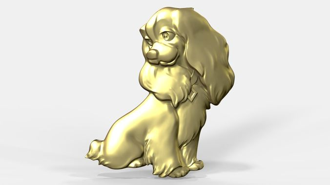 pendant of lady dog  3d model obj mtl stl ztl 1