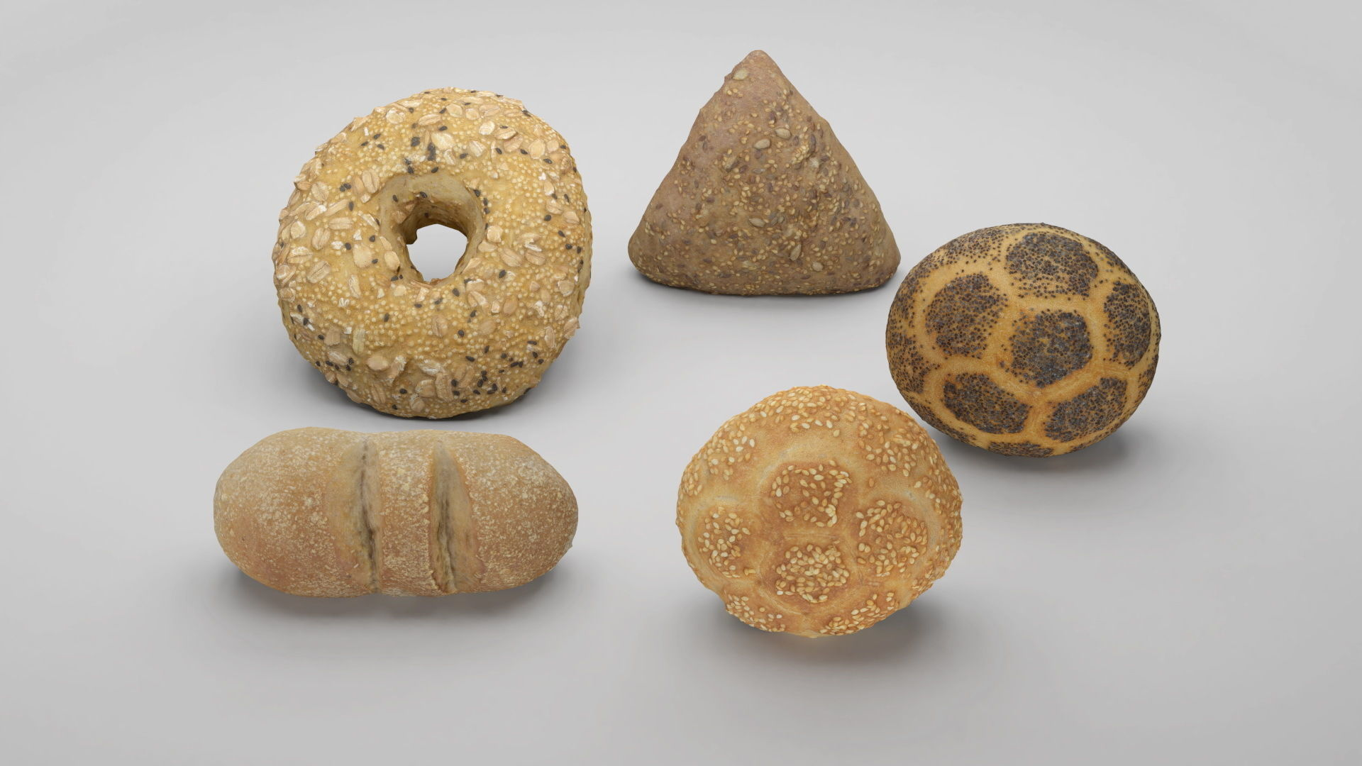 Pack of 3D scanned bakery goods