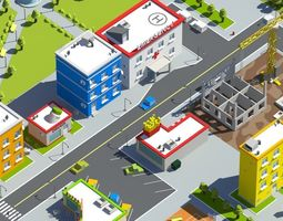 cute low poly city 3D model