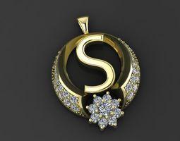 pendant gold fashion diamond silver 3D print model