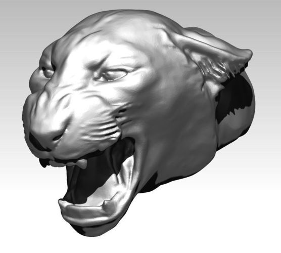 angry cat tiger puma lion head bust 3d model obj mtl stl 1