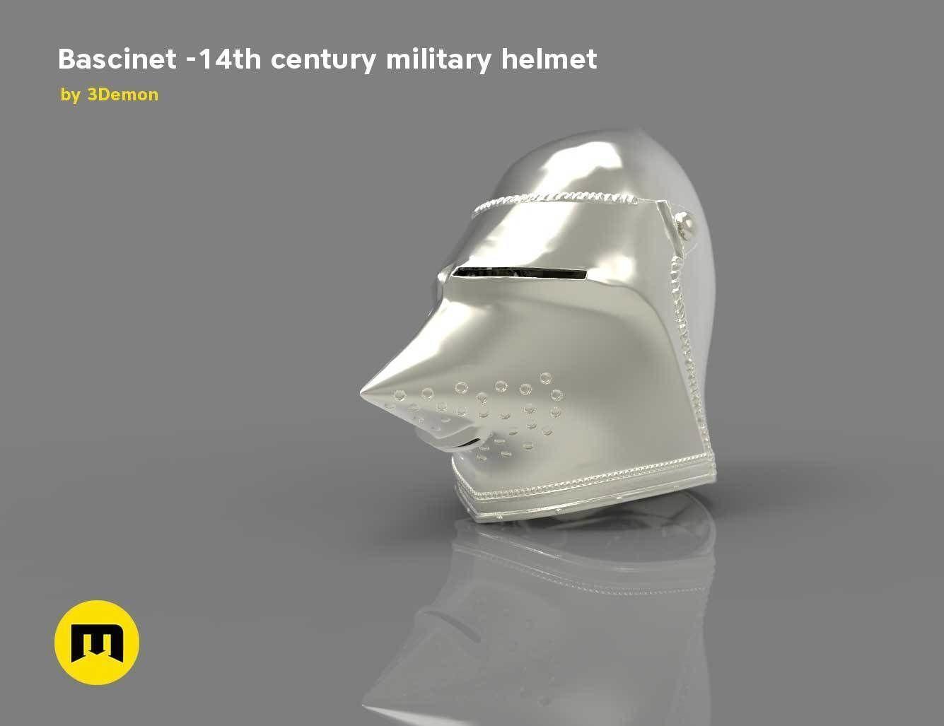 Bascinet -14th century military helmet | 3D Print Model