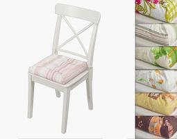 3D model decor Ikea Ingolf chair with a pillow Hoff