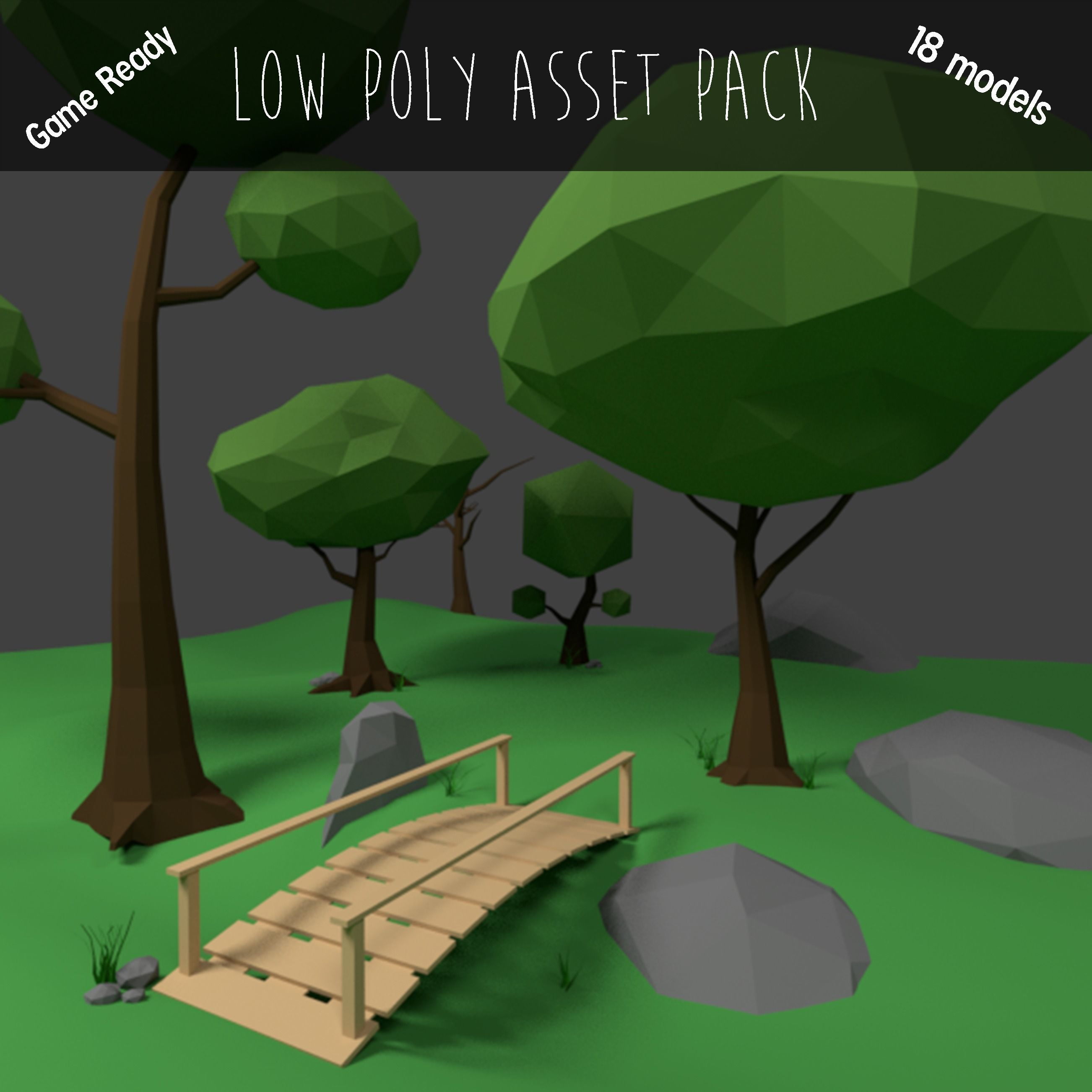 Cartoon-Style Low Poly Environment Game Pack | 3D model