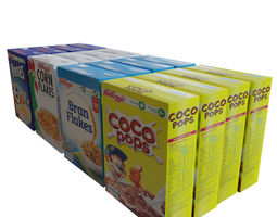4 Assorted Cereal Boxes 3D