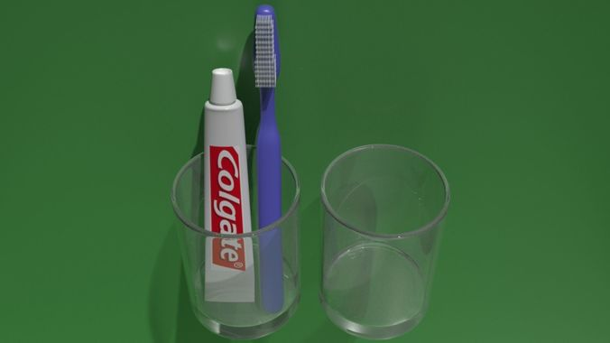 Toothbrust paste and rince glass