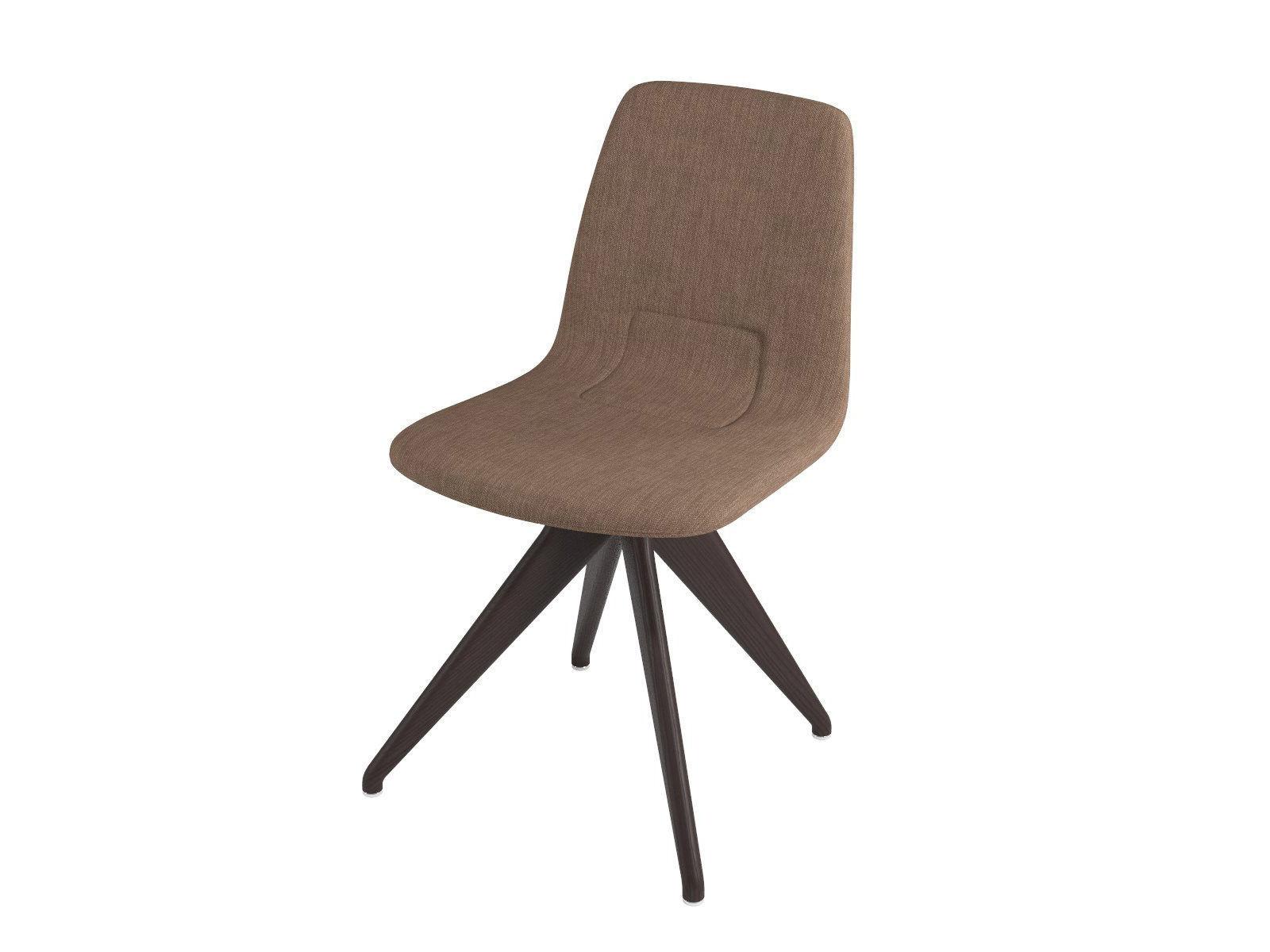 Chair TORSO 837-I POTOCCO Brown linen and dark brown ash