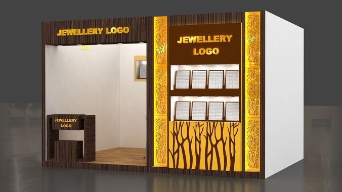 Jewelry Exhibition Stand Design : Jewellery exhibition stand 3ds max model with